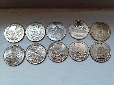 2010 P&D Mint Uncirculated America the Beautiful Quarters-10 Coins-FREE SHIPPING