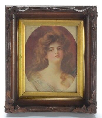 Victorian Art Nouveau Print of Woman in Antique Hand Carved Wooden Frame