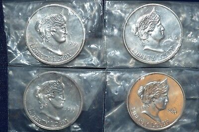 (4) 1980 Liberty Lobby 1 Troy Oz .999 Silver Eagle Rounds - Factory Sealed