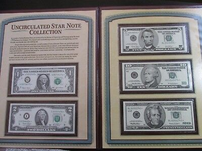 Uncirculated Star Note Collection ($20,10,5,2,and 1) in Display Case