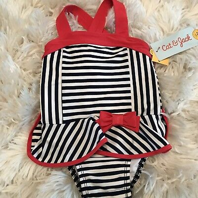 Girls CAT & JACK Swim Suit Size 12 Months One-Piece Stripes Navy White Pink NWT