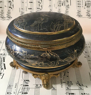 Rare Large Antique French Art Nouveau Jewelry Box Blue Cushion Bird Flower c1900