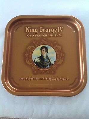 Vintage King George IV Old Scotch Whisky Drinks Tray
