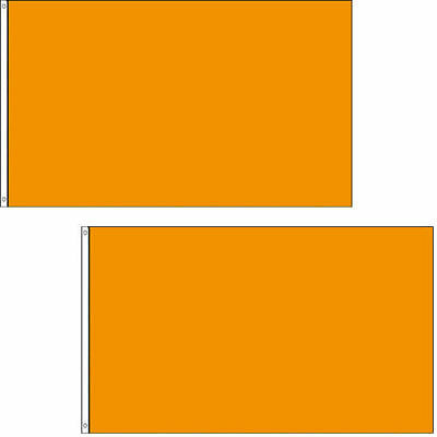 2 PACK - 3x5 Ft SOLID Plain Orange Printed Polyester Flag Flags