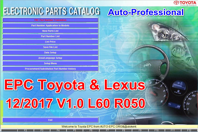 NEW EPC TOYOTA LEXUS 12/2017 electronic parts catalog cars all regions