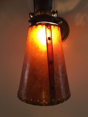 """Amber MICA 2-1/4"""" fitter antique style Lamp shade;Spanish,Mission,Arts & Crafts"""