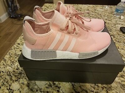 new product 93147 84897 Adidas Women s NMD R1 Vapour Pink Light Onix Grey BY3059 Runner SZ 9