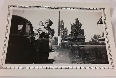 Vintage 1930's  Photo of Pretty Blonde Woman in Polka Dot Dress with Baby & Car