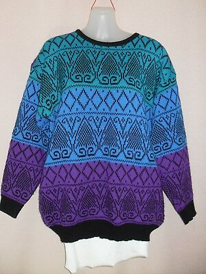 1980's Jumper in Colourful Abstract Pattern.
