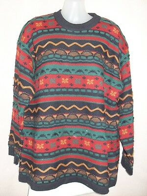 1980's Vintage Tunic Style Jumper in Textured Abstract Pattern.