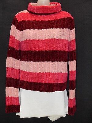 1970's Vintage Ribbed Striped Polo Neck Chenille Jumper.