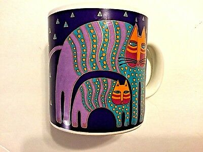 LAUREL BURCH Mr. Jio's Cat Collectible Retired Purple Coffee Mug Cup 1991
