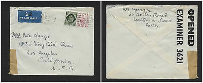 UK 1942 WW II CENSORED AIR MAIL GREAT BRITAIN TO USA Envelope has Orig Letter