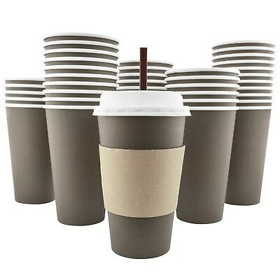Disposable Hot Paper Coffee Cups, Lids, Sleeves, Stirring Straws, 16 oz [100 pk]