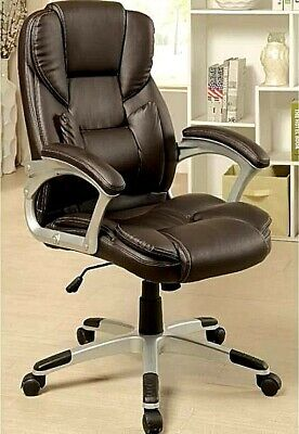 Luxury Executive High-Back PU Leather Dark Brown Swivel Lift Boss Office Chair