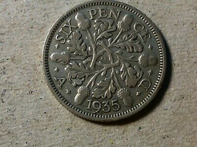 Great Britain 6 pence sixpence 1935 George V Wedding coin gift silver