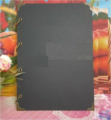 A4 Hard Blank Kraft Cover 4 Binder DIY Photo Album Menu + 100Pg White Paper