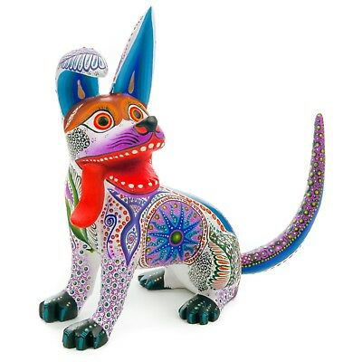 WHITE DOG Oaxacan Alebrije Wood Carving Mexican Art Animal Sculpture Painting