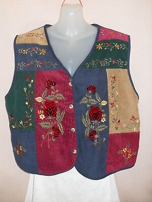 1980's Vintage Patchwork Hippy Vest with Embroidery