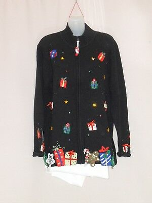 1990's Vintage Zip Front Cardigan with Christmas  Themed Applique.