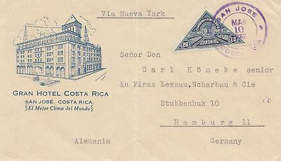 Costa Rica: 1937: San Jose Gran Hotel to Hamburg