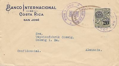 Costa Rica: 1935 San Jose Banco Internacional to Coswig-Tapetenfabrik