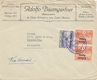 Costa Rica: 1933 San Jose Baumgartner to Chemnitz