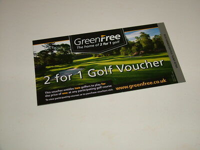 GREENFREE  2 for 1 golf voucher (valid to 31st December 2018) 1st Class Postage