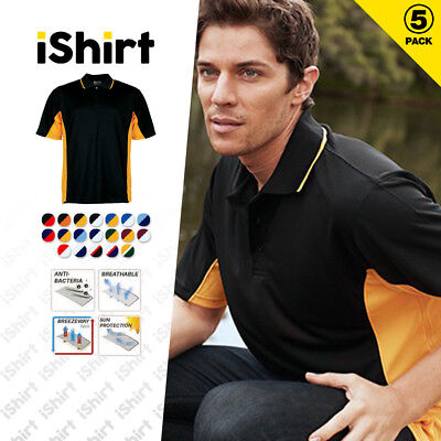 5Pc X Mens Polo Shirt 100% Polyester Cool Dry Breathable Panel With Piping Polo