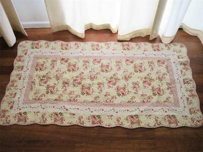Shabby Rose Patch Cotton Quilted Mat Rug Floor Runner L Clearance