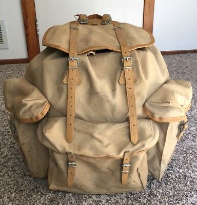 8b726add30 Vtg 40s Sac Lafuma French Army Rucksack Backpack Canvas, Leather Made in  France