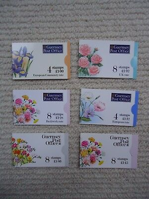6X Guernsey FLOWERS booklets. SB45-46, 48, 49b, 50b, 52. Face Value £8.57