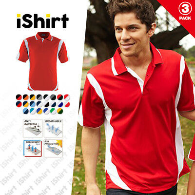 3Pc X Mens Polo Shirt 100% Polyester Cool Dry Breathable Contrast Sports Polo
