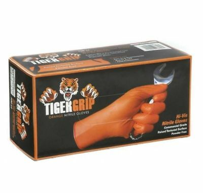 100 x Strong Tiger Grip Orange Nitrile Gloves Hi-visibility Powder Free