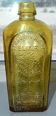 "Straubmullers Elixir Tree of Life (Wheaton NJ) Honey Color Bottle 8"" Tall"