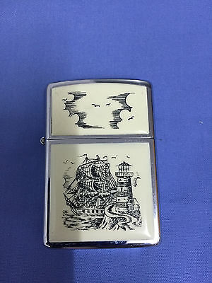 Zippo vintage  Scrimshaw Ship Windproof Lighter High Polished Chrome 1989 C V