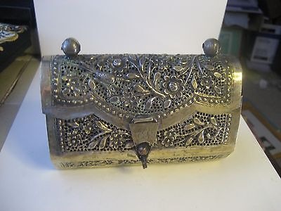 ANTIQUE EARLY 20th CENTURY LADIES SILVER TONE FLORAL DESIGN PURSE/HANDBAG