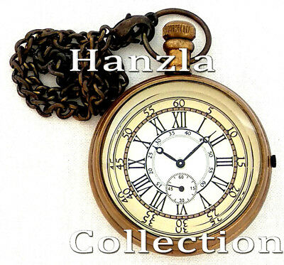 Vintage Roman Dial Marine Pocket Watch Nautical Antique Brass Retro Chain Clocks