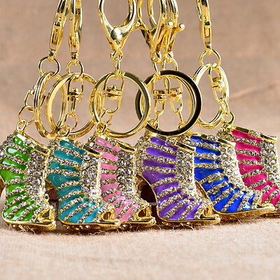 Crystal Shoe High Heel Keyring Rhinestone Purse Charm Pendant Bag Key Chain WKHW