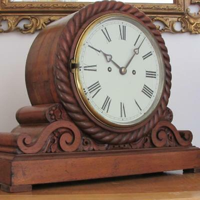 MAGNIFICENT ANTIQUE CARVED OAK MANTEL CLOCK English round twin chain fusee BELL