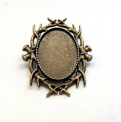 10 pcs blank badge setting cabochon tray antique gold to fit 25mm oval