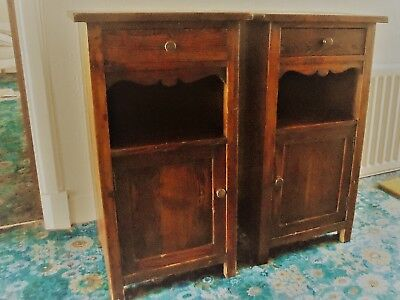 Pair of Antique Pine Cupboards / Bedside Cabinets