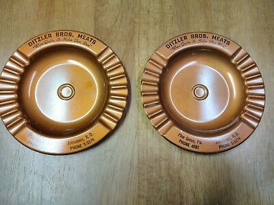 Lot of 2 vintage metal ashtrays ditzler Bros meats Pine Grove ,pa pre owned