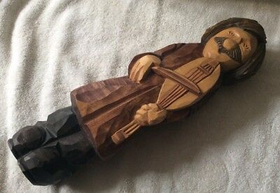 Vintage Large Wooden Musician Figure. Possibly Black Forest, Germany