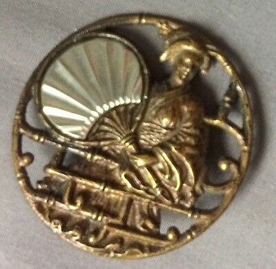 Vintage Sewing Large Antique Metal Picture Button Japanese Asian Geisha Fan