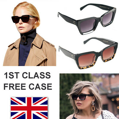 Oversized Square Retro Vintage Cat Eye Women Sunglasses Hand Polish CLN Style