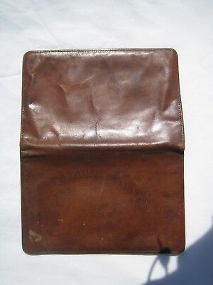 Vintage slim real-hide tan leather wallet by Aero Made in England (exc cond)