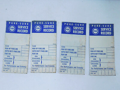 Vintage Pure Sure Oil Co Car Service Stickers Decals Labels Lot Of 4