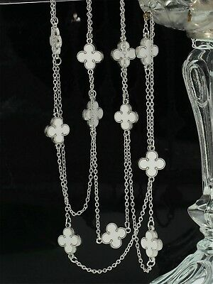 Necklace Long necklace Silver Chain Lucky Flower Clover White 120cm QD4