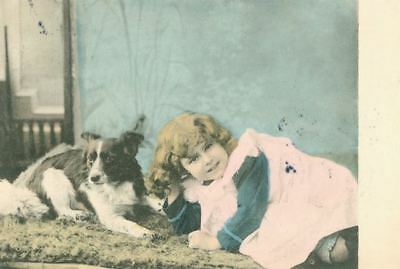 RARE Old Postcard PC Border Collie & Little Girl Germany 1904